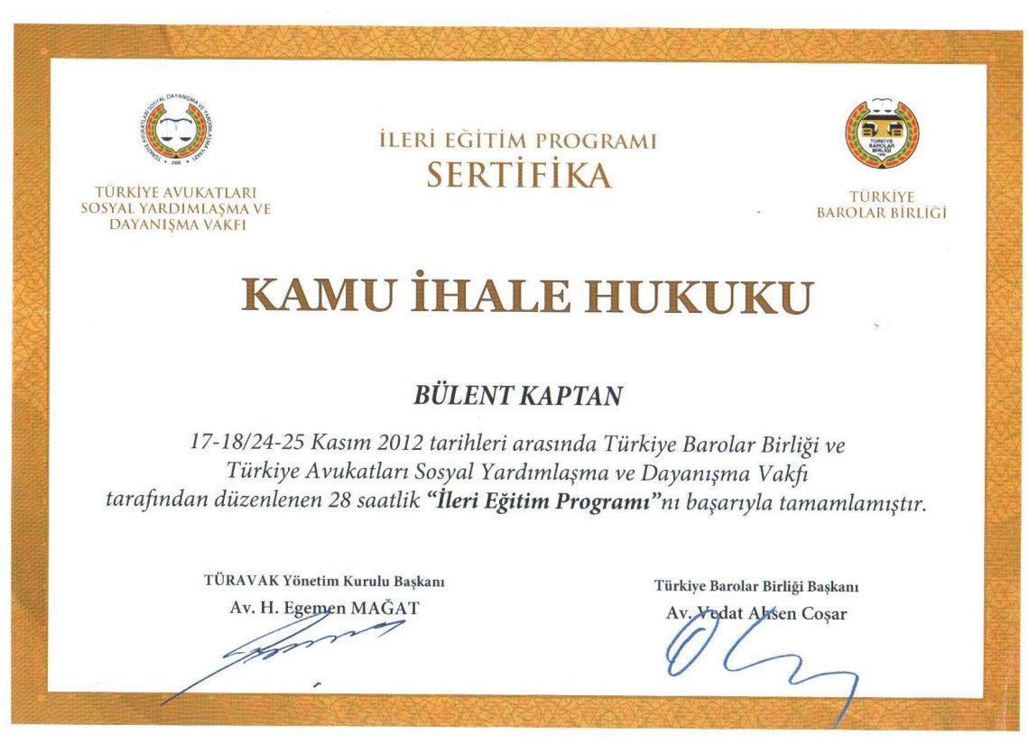 Turavak Public Procurement Law Certificate Kaptan Avukatlk Brosu